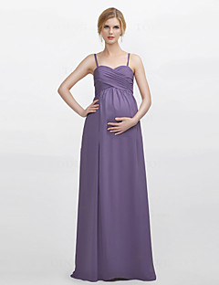 cheap Maternity Bridesmaid Dresses-Sheath / Column Spaghetti Straps Floor Length Chiffon Bridesmaid Dress with Criss Cross by LAN TING BRIDE®