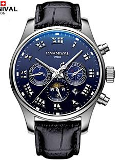 お買い得  有名ブランド腕時計-Carnival 男性 ファッションウォッチ 透かし加工 自動巻き レザー バンド ブラック