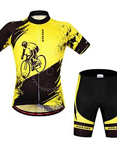 billige Sykkelklær-WOSAWE Kortermet Sykkeljersey med shorts - Gul / Svart Sykkel Shorts / Sykkelshorts Med Seler / Jersey, 3D Pute, Fort Tørring, Anatomisk design / Pustende / Elastisk / Pustende / Refleksbånd