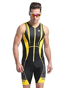cheap Triathlon Clothing-Nuckily Men's Short Sleeves Tri Suit - Yellow Geometic Bike Anatomic Design, Ultraviolet Resistant, Breathable, Spring Summer, Polyester