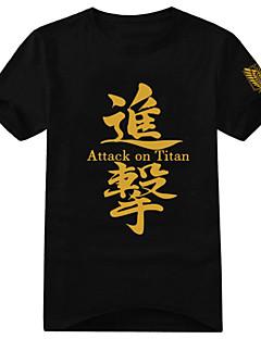 """billige Anime Kostymer-Inspirert av Attack on Titan Eren Jager Anime  """"Cosplay-kostymer"""" Cosplay T-skjorte Trykt mønster Kortermet T-Trøye Til Herre Dame"""