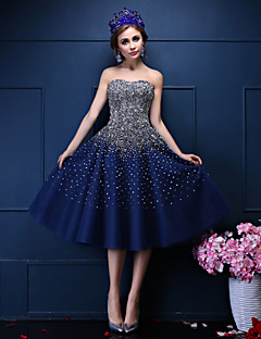 Ball Gown Sweetheart Tea Length Tulle Cocktail Party Prom Dress with Beading Crystal Detailing Pearl Detailing Sequins by QZ
