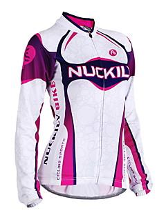 levne Cyklistické oblečení-Nuckily Dámské Dlouhý rukáv Cyklodres - Fialová Geometrické tvary Jezdit na kole Dres, Anatomický design, Odolný vůči UV záření, Prodyšné