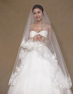 Uma Camada Borda com aplicação de Renda Véus de Noiva Véu Capela Com Apliques Lantejoulas Bordado Renda Tule