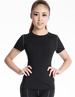 Mulheres Camiseta de Corrida Manga Curta Secagem Rápida Respirável Compressão Redutor de Suor Roupas de Compressão Blusas para Ioga