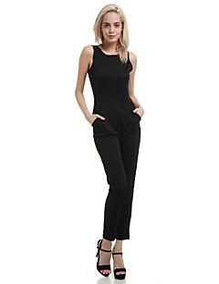 Women's Party Sexy Solid Round Neck Jumpsuits,Skinny Sleeveless Summer Others Polyester