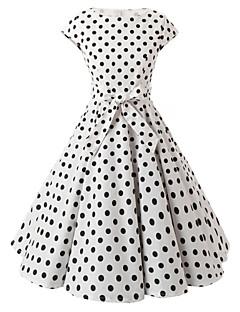お買い得  レディースファッション&ウェア-女性用 お出かけ ヴィンテージ コットン Aライン ドレス - リボン, 水玉 / 波点 膝丈 ボートネック