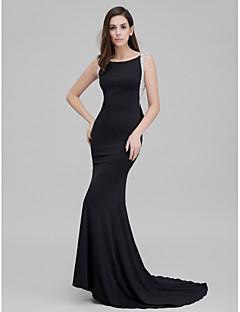 billige Paljettkjoler-Havfrue Hoffslep Jersey Formell kveld Kjole med Perlearbeid Sløyfe(r) av TS Couture®
