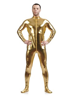 Shiny Zentai Suits Morphsuit Ninja Zentai Cosplay Costumes Golden Solid Leotard/Onesie Zentai Spandex Shiny Metallic UnisexHalloween