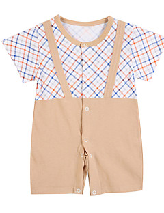 Girls' Clothing Set,Cotton Spring Summer Short Sleeve Stripes Light Brown