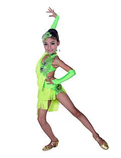 זול הלבשה לריקודים לטיניים-ריקוד לטיני שמלות הצגה כותנה ספנדקס קריסטלים / אבנים נוצצות פרנזים ללא שרוולים גבוה שמלה כפפות Neckwear לבוש ראש