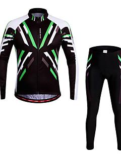 billige Sett med sykkeltrøyer og shorts/bukser-WOSAWE Langermet Sykkeljersey med tights - Grønn Sykkel Tights Jersey Bukser Klessett, 3D Pute, Fort Tørring, Anatomisk design, Pustende,