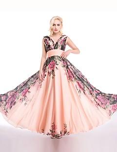 Linha A Rainha Anne Longo Chiffon Baile de Fim de Ano Evento Formal Vestido com Pregueado Drapeado Lateral de ARMK
