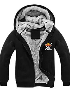 קיבל השראה מ One Piece Monkey D. Luffy אנימה תחפושות קוספליי קפוצ'ון Cosplay דפוס שרוול ארוך עליון עבור זכר