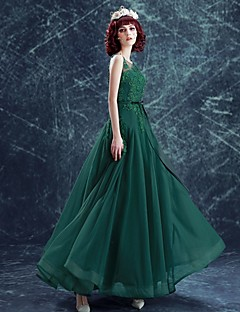 A-Line Scoop Neck Floor Length Tulle Prom Formal Evening Dress with Beading Appliques Bow(s) by MYF