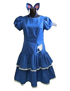 に触発さ Fairy Tail コスプレ アニメ系 コスプレ衣装 コスプレスーツ ドレス パッチワーク 半袖 ドレス ヘアバンド 用途 女性用