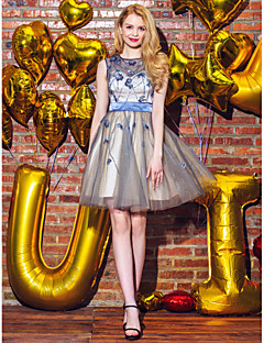 billige Paljettkjoler-Kjole jewel neck kort / mini tyll prom kjole med beading av ts couture®