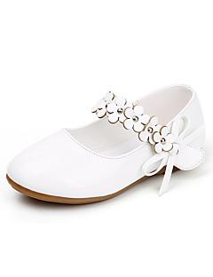 olcso Koszorúslány cipők gyermekeknek-Lány Cipő Bőrutánzat Tavaszi nyár Kényelmes Lapos Rátétek Átlátszó ragasztószalag mert Party és Estélyi Fekete Fehér Arany