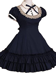 Gothic Lolita Dress Princess Lace Women's One Piece Dress Cosplay Pink Black Gray Blue Red Cap Short Sleeves