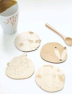 sevimli hayvan içi boş ahşap oyma bardak kupa bardak tablo ped dükkanı bar çay kahve fincan mat (rastgele)