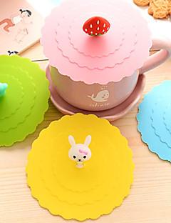 dia 11cm çeşitli karikatür hayvan silikon bardak yaratıcı renk kupa kapak Drinkware (rastgele renk) kapak