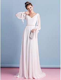 billiga Åtsmitande brudklänningar-Åtsmitande V-hals Hovsläp Chiffong Bröllopsklänningar tillverkade med Bård av LAN TING BRIDE®
