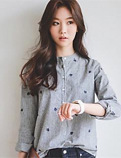 Women's Print Gray Shirt,Crew Neck Long Sleeve