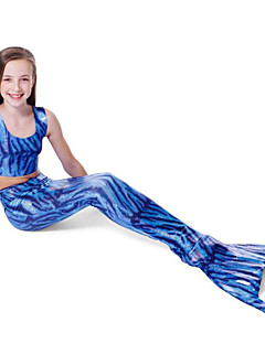 Girl's Blue Swimwear,Thress Pieces Sets Mermaid Color Block Polyester Summer