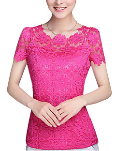 Women's Lace Summer Plus Size  Solid Color Round Neck Short Sleeve Lace Blouse Slim Was Thin T-shirt Tops