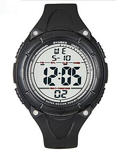 SYNOKE Herrn Sportuhr Armbanduhr digital LCD Kalender Chronograph Wasserdicht Alarm leuchtend Caucho Band Schwarz