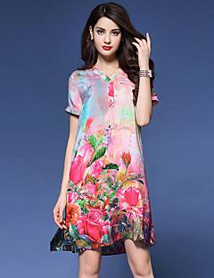 Χαμηλού Κόστους Chinoiserie Dresses-Γυναικεία Κινεζικό στυλ Φαρδιά Φόρεμα Στάμπα