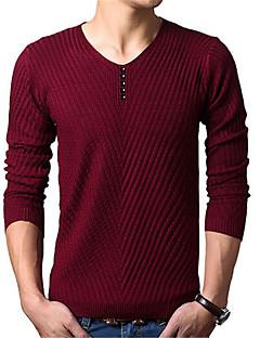 お買い得  メンズセーター&カーデガン-男性用 週末 長袖 プルオーバー - ソリッド