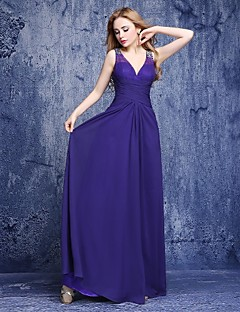 A-Line V-neck Floor Length Chiffon Bridesmaid Dress with Beading by LAN TING BRIDE®