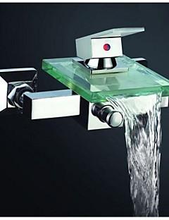 billige Foss-Moderne Badekar Og Dusj Foss Utbredt Keramisk Ventil To Huller Enkelt håndtak To Huller Krom, Badekarskran