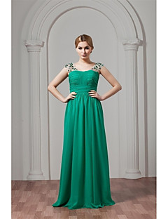 A-Line Straps Floor Length Chiffon Bridesmaid Dress with Crystal Detailing Pleats by XFLS