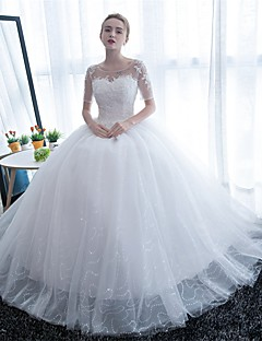 cheap Wedding Dresses-Ball Gown Scoop Neck Floor Length Tulle Wedding Dress with Lace by Embroidered bridal