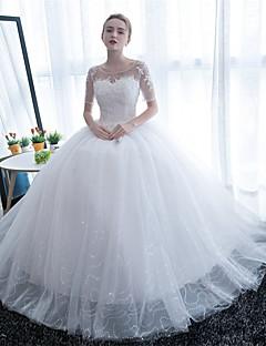 kule kjole scoop nakke etasje lengde tulle brudekjole med blonder med brodert brude