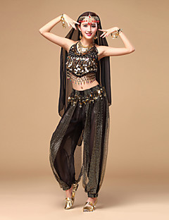 cheap Belly Dance Wear-Belly Dance Outfits Women's Performance Chiffon Sequin Sleeveless Top Pants Headwear