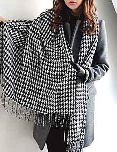 Classic Houndstooth Thick Warm Wool Scarves Long Wide Black And White Plaid Shawl