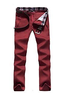 billige Herrebukser og -shorts-Herre Bomull Chinos Bukser Ensfarget