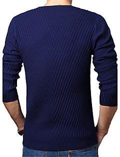 tanie Męskie swetry i swetry rozpinane-Męskie Codzienny / Weekend Solidne kolory Długi rękaw Regularny Pulower Brązowy / Niebieski / Wino XXL / XXXL / 4XL