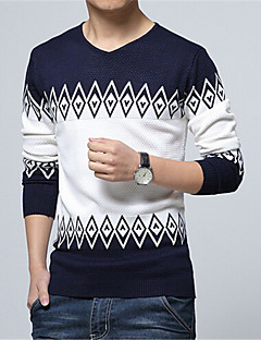 Men's Daily Regular Pullover,Color Block Long Sleeves Cotton