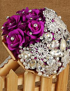 """Χαμηλού Κόστους Νυφικά Αξεσουάρ-Λουλούδια Γάμου Μπουκέτα Γάμου Στρας Μετάξι Μεταλλικό Σατέν 9,06 """" (περίπου23εκ)"""