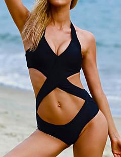 billige Bikinier og damemote 2017-Dame Solid / Kryss / Utskjæringer Grime Svart Monokini Badetøy - Ensfarget S M L / Dytt opp / Racerrygg