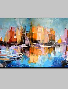 tanie Pejzaże abstrakcyjne-Hang-Malowane obraz olejny Ręcznie malowane - Abstrakcja Nowoczesny Z ramą / Zwijane płótno