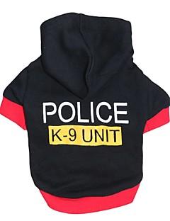 billiga Hundkläder-Katt Hund Huvtröjor Hundkläder Polis/Militär Svart Cotton Kostym För husdjur Herr Dam Gulligt Mode