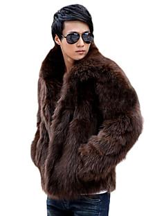 Men's Daily Classical Winter Fur Coat,Solid Color V Neck Long Sleeve Regular N/A