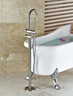billige Sidesray-Moderne Art Deco/Retro Badekar Og Dusj Utbredt Hånddusj Inkludert Træk-udsprøjte Gulvstående Keramisk Ventil To Huller To Håndtak to hull