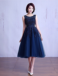 Ball Gown Jewel Neck Tea Length Lace Over Tulle Bridesmaid Dress With Beading Sash Ribbon By Lan Ting Express
