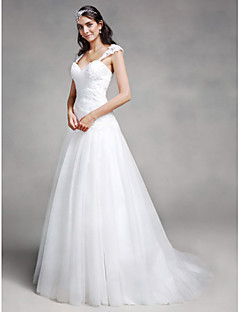 cheap Wedding Dresses-A-Line Sweetheart Neckline Court Train Lace / Tulle Made-To-Measure Wedding Dresses with Appliques / Criss-Cross by LAN TING BRIDE®